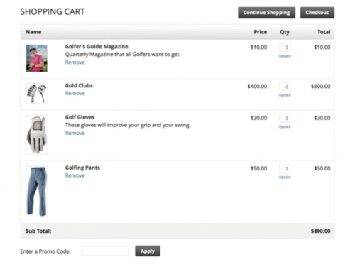 Infusionsoft's shopping cart