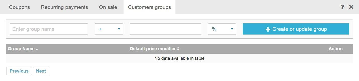 modify an online store's price range based on segmented customer types