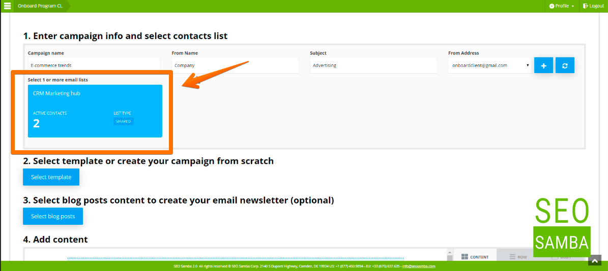 enter campaign info and select contact list