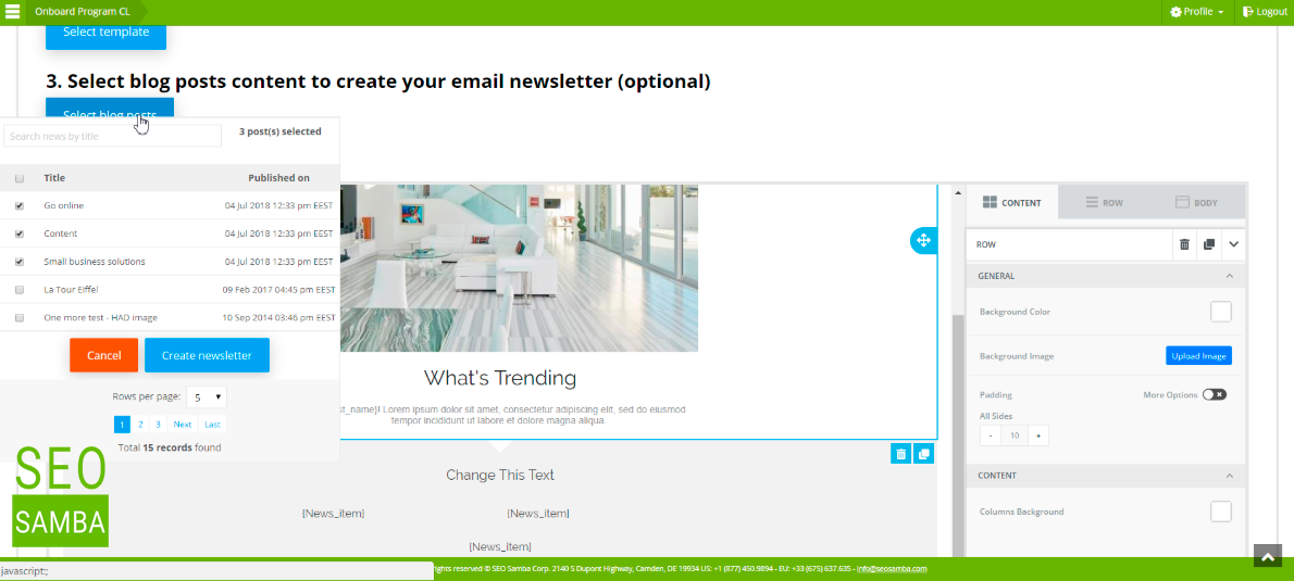 newsletter email being almost magically assembled
