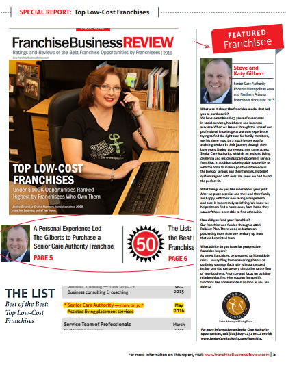 "SeoSamba Customer Senior Care Authority Named Top 50 ""Best of Best""  Low Cost Franchises by Franchise Business Review"