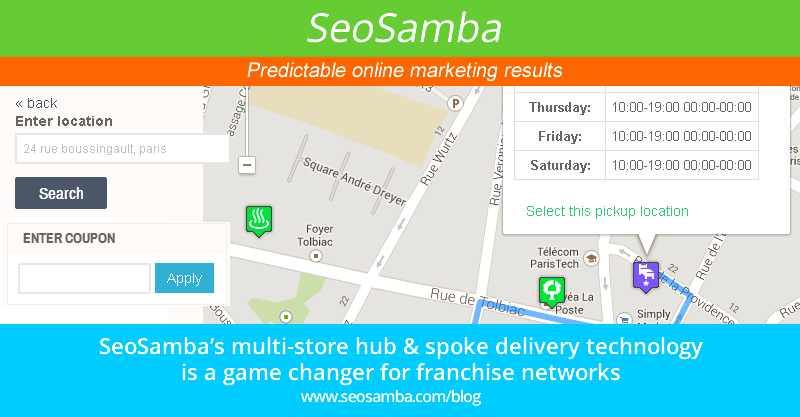SeoSamba's multi-store hub & spoke delivery technology is a game changer for franchise networks